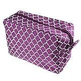 Quatrefoil Cosmetic Tote Make Up Bag Travel Case (Purple)