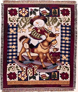 """Cowboy Snowman on Rocking Horse Holiday Christmas Tapestry Throw Blanket 50"""" x 60"""" Made in the USA"""