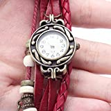 Liroyal BeautyLife Weave Wrap Around Leather Bracelet Lady Woman Wrist Watch