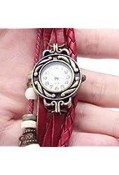 Liroyal BeautyLife Weave Wrap Around Leather Bracelet Lady Woman Wrist Watch