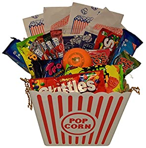 Ultimate Movie Night Gift Bundle Care Package, Easter Basket, Christmas Present, Valentines Day with Popcorn, Candy, Cookies Plus Snack Better Stress Ball for Entire Family!