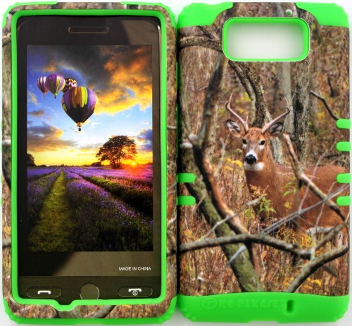 Wireless Fones Tm Verizon Motorola Droid Ultra Xt1080 Tuff Impact Hybrid Real Deer Camo Mossy Cover Case Snap On + Lime Green Silicone