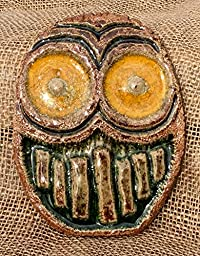 Owl wall plaque in clay and melted glass.