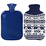 Premium Classic Transparent Hot/Cold Water Bottle w/ Cute Knit Cover (2L, Navy / Snowflake)