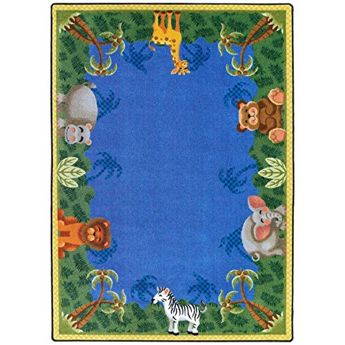 "Joy Carpets Kid Essentials Infants & Toddlers Oval Jungle Friends Rug, Multicolored, 10'9"" x 13'2"""