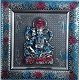 Laps Of Luxury - Ganesha God Idol Silver And Blue Color Wall Hanging Photo Frame(10x10 Inches)