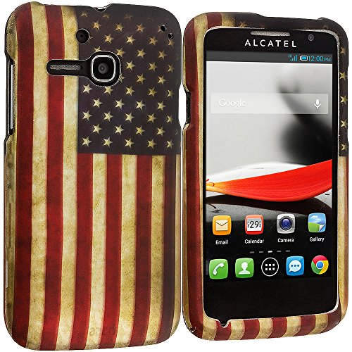 Accessory Planet(Tm) Usa Flag 2D Hard Snap-On Design Rubberized Case Cover Accessory For Alcatel One Touch Evolve 5020T