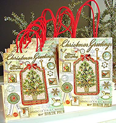 Punch Studio #95496 Victorian Tree Christmas Greetings Holiday Gift Bags with Glitter Highlights - Boxed Set of 8