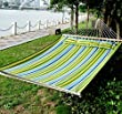 "Outsunny 83"" Large Hammock Bed Striped Fits 2 People Sun Bed Camping hang Sleep w/ Pillow"