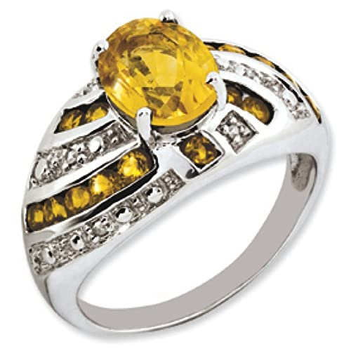 Sterling Silver Citrine and Rough Diamond Ring - Ring Size Options Range: J to T
