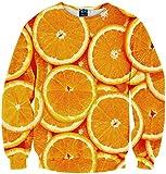 (ピゾフ)Pizoff メンズ 長袖 パーカー オレンジ柄 おもしろ ファション カジュアルトップス 男女兼用 プルオーバY1759-71-M