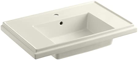 KOHLER K-2758-1-96 Tresham Bathroom Sink Basin with Single-Hole Faucet Drilling, Biscuit