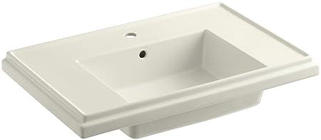 KOHLER K-2758-1-96 Tresham Bathroom Sink Basin with Single-Hole Faucet Drilling, Biscuit
