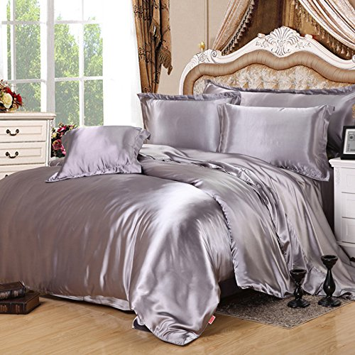 Silver Gray Silk Bedding Set Duvet Cover Silk Pillowcase Silk Sheet Luxury Bedding, King Size