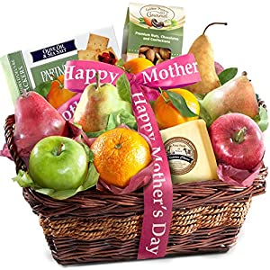 Golden State Fruit Happy Mothers Day Fruit Basket with Cheese and Nuts, 5 Pound