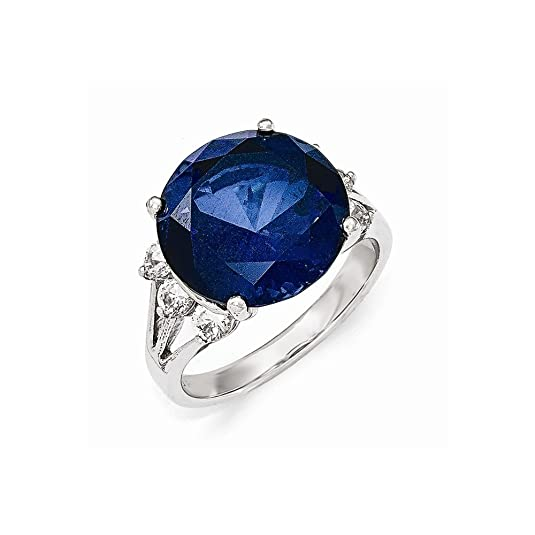 Cheryl M Sterling Silver AAA CZ and Synthetic Sapphire Ring