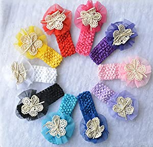 Qandsweet Baby Girl's Headbands Mesh Flowers (10pack)