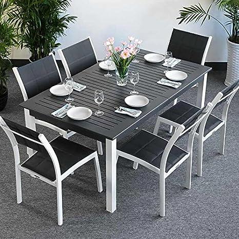 Table Virginia et 6 chaises Lea - BLANC & GRIS | Table extensible 244cm pour l'intérieur et l'extérieur