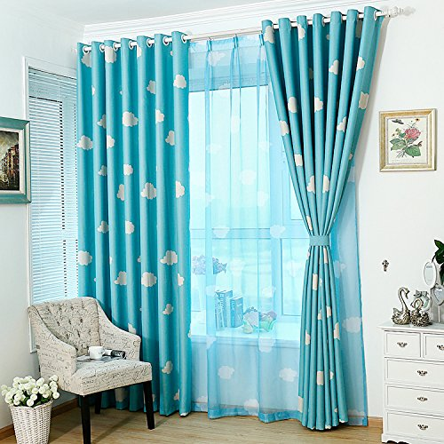 Imported 100*250cm Cloud Pattern Window Curtain Screen Sheer Valance Voile Blue