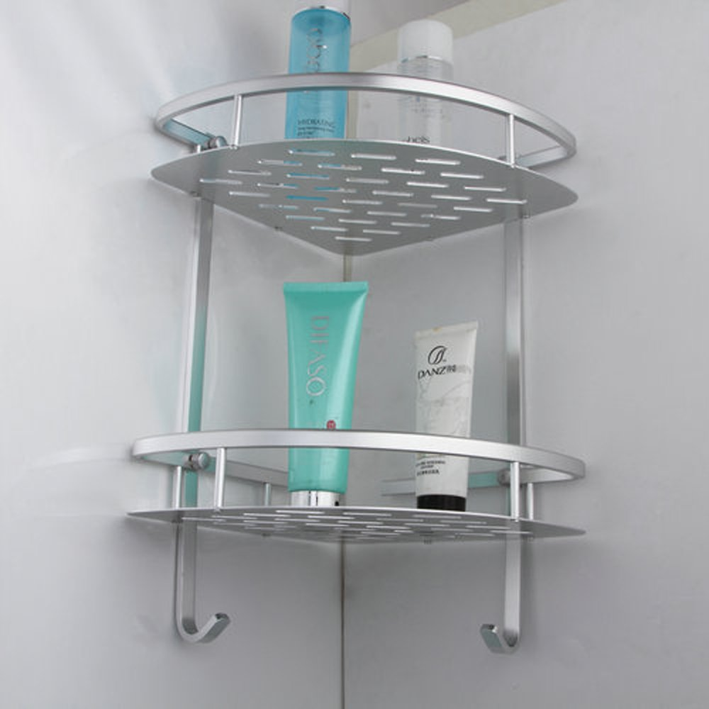 KES A4022B Tub and Shower Large Corner Basket Two-Tier with Hook Wall Mount, Aluminum