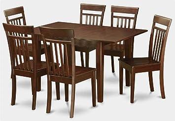 7-Pc Wooden Dining Set in Mahogany Finish