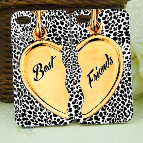 Black and White Leopard Print Gold Hearts Necklace Chain Best Friends Set for Iphone 5 Case