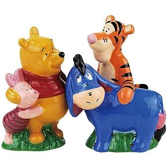 Westland Giftware Magnetic Ceramic Salt and Pepper Shaker Set 4-Inch Disney Winnie The Pooh Best Friends Set of 2
