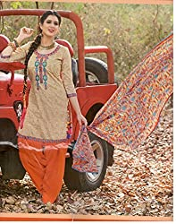 Fashion Bizzare Punjabi Style Printed Beige Top andOrange BOttom Fine Cotton with embroidery on Shirt and fulkari print dupatta Dress Material MY16001