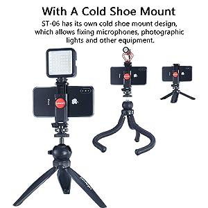 ULANZI ST-06 Camera Hot Shoe Phone Holder Flexible Phone Tripod Mount Adapter w Cold Shoe Mount for Microphone LED Light for DJI Ronin SC iPhone Samsu