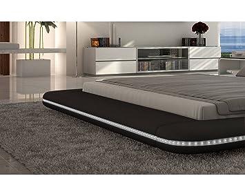lit design lumineux lumineux noir victoria 180cmx200cm avec matelas memoire memoire. Black Bedroom Furniture Sets. Home Design Ideas
