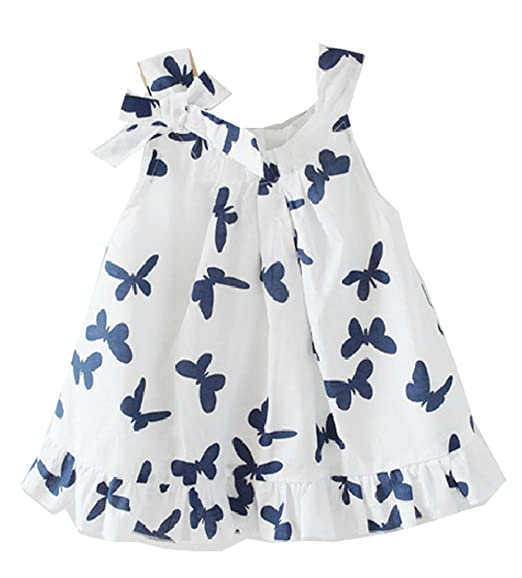 Lovely-Baby-Girls-Kids-Toddlers-Casual-Top-Butterfly-Bowknot-Cotton-Dress