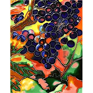 "Decorative Ceramic Art Tile - 11"" x 14"" Vertical - Grapes Top"