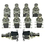 KAISH Pack of 10 Latching Stomp Push Button 6-Pin DPDT Side Terminals Guitar Effect Pedal Switch Footswitches Black