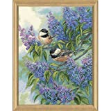 Gold Collection Chickadees & Lilacs Counted Cross Stitch Kit-12