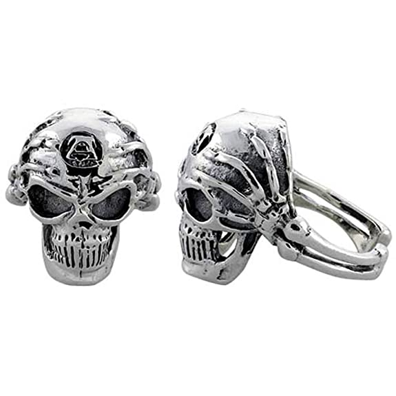 Sterling Silver Gothic Biker Skull Ring w/ Skeleton Hands, (24 mm) wide, available sizes R to Z+2