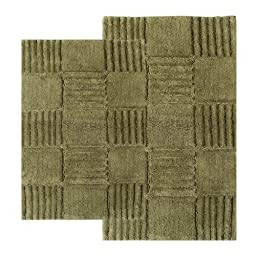 Chesapeake 2-Piece Checkerboard 21-Inch by 34-Inch and 24-Inch by 40-Inch Bath Rug Set, Peridot