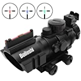 Beileshi Optics 4x32 Red/Green/Blue Triple Illuminated Rapid Range Reticle Rifle Scope with Top Fiber Optic Sight and Weaver Slots (Color: Black)