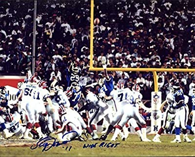 "Scott Norwood (Buffalo Bills Kicker) Autographed/ Original Signed 8x10 Color Photo During Super Bowl XXV - His Famous 47 Yd Field Goal Attempt Missed - Norwood Wrote ""WIDE RIGHT"" Beside His Signature (Version 3)"