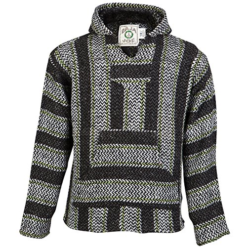 Original Mexican Baja Hoodie - Made From 100% Recycled Fibers, Charcoal Lime XX-Large