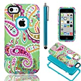 iPhone 5C case Cover,iPhone 5C case cute, ULAK High Impact Hybrid PC TPU Shock Absorbing Armor Case for Apple iPhone 5C w/ Screen Protector and Stylus - Retail Packaging ( Paisley Flower + Blue PC )