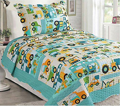 Awad Home Fashion 2 Piece Multicolor Kids Quilt Bedspread Busy Construction Tractor Trucks Bedding Set, Twin QS-36 (Big Truck Bedding compare prices)