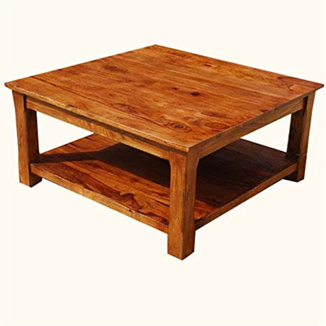 Rustic Solid Wood Sierra Nevada 2-Tier Square Shaker Coffee Table