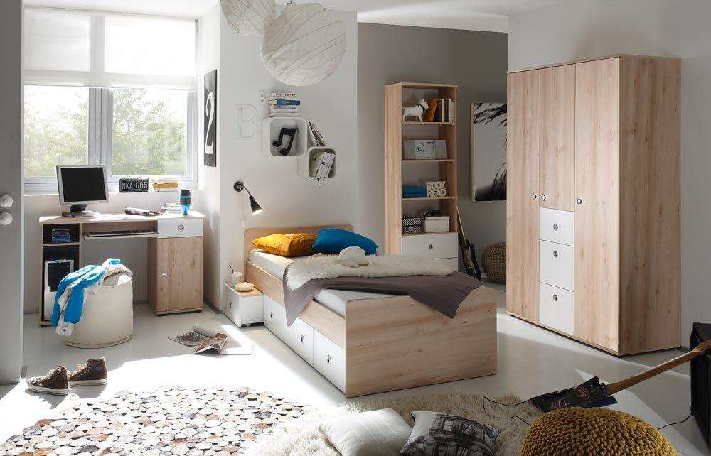 Jugendzimmer in Edelbuche NB mit Abs. in weiß, 3-trg., Kleiderschrank (B: 115 cm), Kojenbett Liegefläche 90×200 cm, Schreibtisch (B:94 cm)