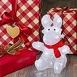 Reno con bufanda sentado 30 cm, 32 LED luz fría, a pilas, reno luminoso, decoración de Navidad, luces navideñas, figura luminosa