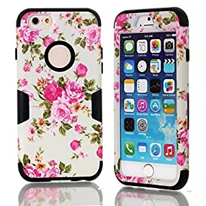 iPhone 6 Hybrid Case, AnyShock White Floral Dual Layer Heavy Duty Shockproof Rugged Hard/Soft Drop Impact Resistant Protective Case Hybrid Armor Case for iPhone 6 4.7 Inch (Black)