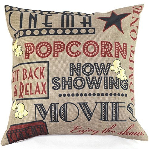 OliaDesign Movie Popcorn Cotton Linen Pillow Cover, 17.3 x 17.3