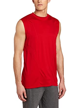 Russell Athletic Men's Fashion Performance Sleeveless Tee, True Red/White, XX-Large
