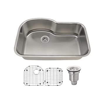 The MR Direct 346 16 Gauge Stainless Steel Kitchen Ensemble (Bundle - 4 Items: Sink, Basket Strainer, and 2 Sink Grids)