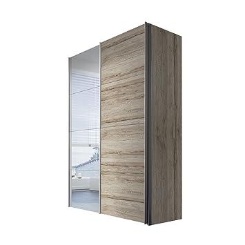 Express Möbel Kleiderschrank 150 cm mit Spiegel Eiche San Remo hell, 2-turig, BxHxT 150x216x68 cm, Art Nr. 47490-160