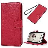 Huawei Mate9 ケース 手帳型 YOKIRIN® レイシ紋 スタンド機能付き マグネット 耐衝撃 カバー 財布型 カード収納 スマートフォンケース 保護ケース 高級PUレザー レッド